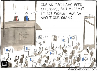 """Controversy Marketing"" cartoon"