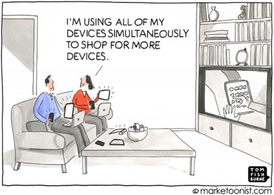 """Multi-screen Marketing"" cartoon"